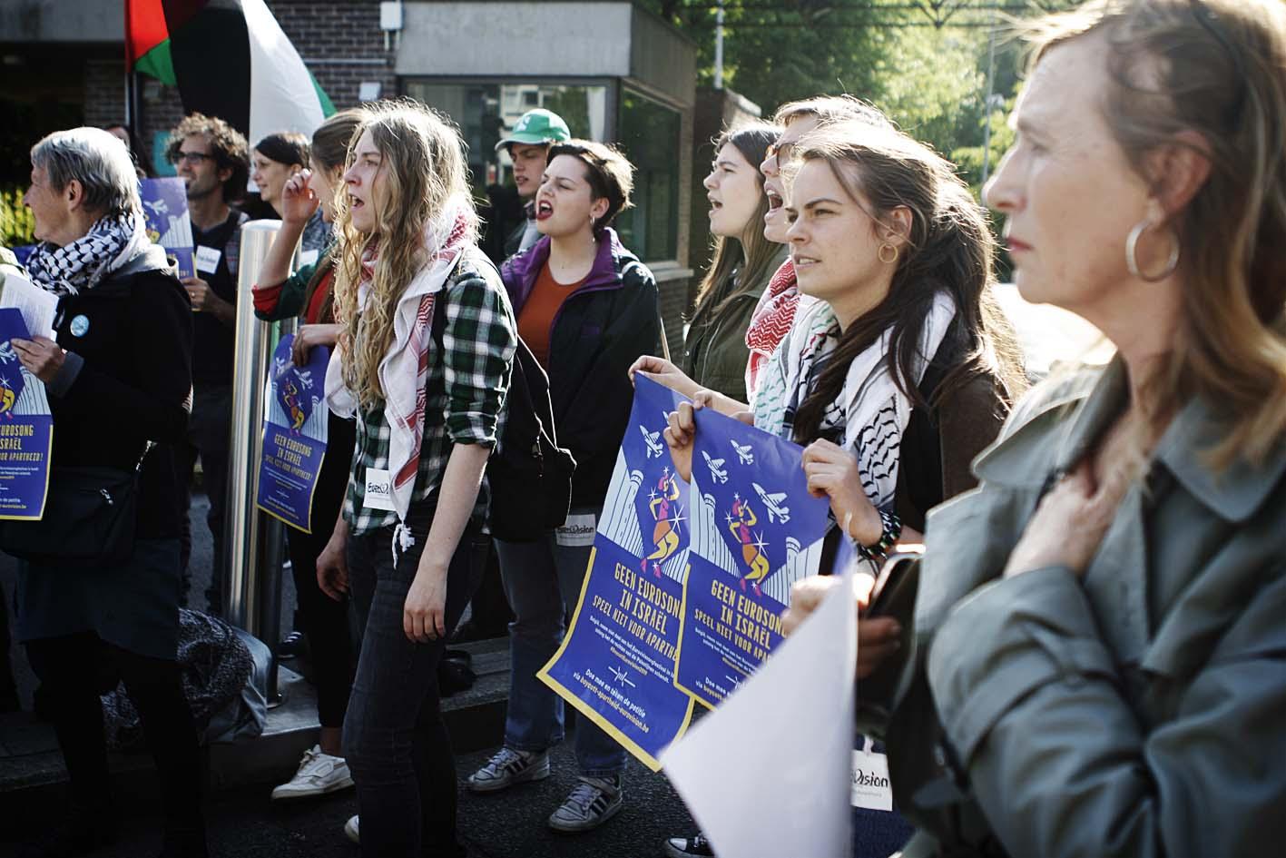 Blokkade aan VRT-gebouw tegen Eurovisiesongfestival in Israël